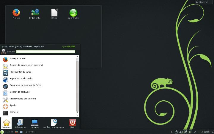 Menú de aplicaciones en KDE